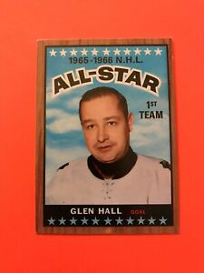 Glen-Hall-1966-67-Topps-126-Vintage-Hockey-Card-printed-in-Canada