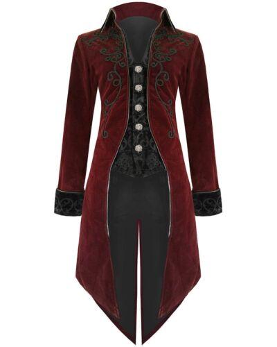 FASHION Giacca Da Uomo Frac Red Velvet Goth Steampunk aristocratico REGENCY Giacca