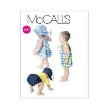 McCALLS Sewing Pattern Infants Dress+Panites+Rompers+Nappy Cover+Hats~6309 S-XL