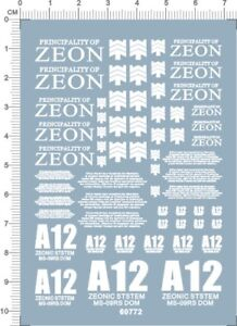 white 60772 Gundam decals 1//60 PG MS-09RS Rick Dom Char/'s