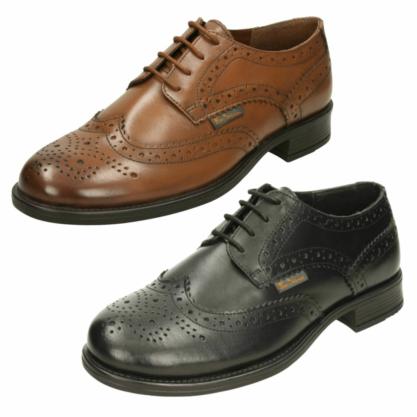 BEN SHERMBN Leather Brogue Lace Up Shoes Sizes 8-12 SIMPSON