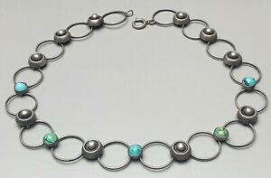 Design-Silber-Collier-Art-Deco-Tuerkis-Besatz-Meisterpunze-signiert-42-cm-A532