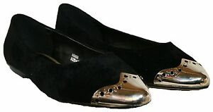 Señoras Negras E Montaje Imitación Gamuza resbalón en el zapato con punta de oro en tamaño 5