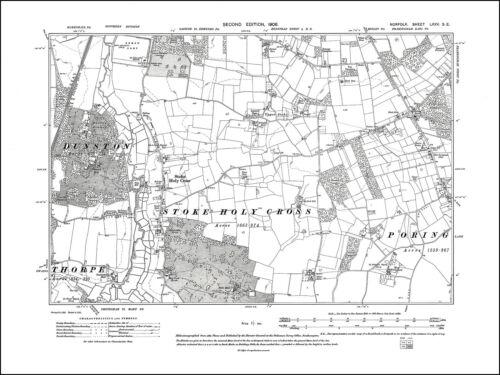 Norfolk in 1908 Old map of Stoke Holy Cross 75SE repro Poringland