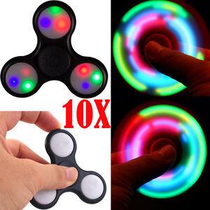 Wholesale Lot 10x LED Flash Light Up Tri Fidget Spinner Toy EDC Hand Finger Desk