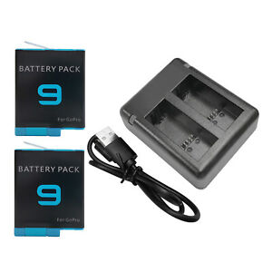 Replace Batteries 1720mAh USB Quick Charger with Cord for   Hero 9 -Black