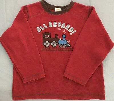 Gymboree Boys 4T Red Long Sleeve Shirt Train North Pole Express Collection Cord