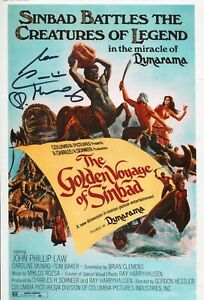 Caroline-Munro-signed-GOLDEN-VOYAGE-OF-SINBAD-movie-poster-photo-WITH-PROOF