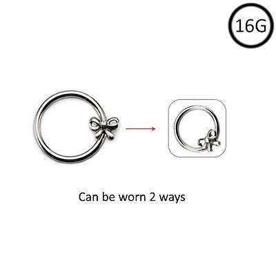 Surgical Steel Nose Hoop Omni Bead Ring Cross Daith Ear Cartilage 16G