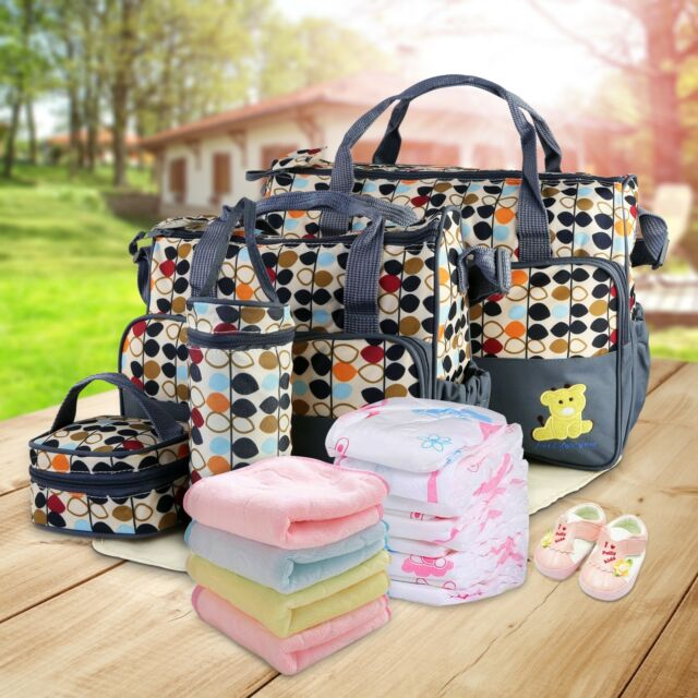 5 Pcs Mummy Baby Maternity Diaper Bag Ny Changing Large Capacity Handbags Gray Ebay