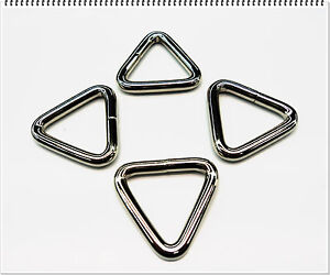 1 inch Heavy Welded Triangle Tri-Rings Nickle 4 per lot