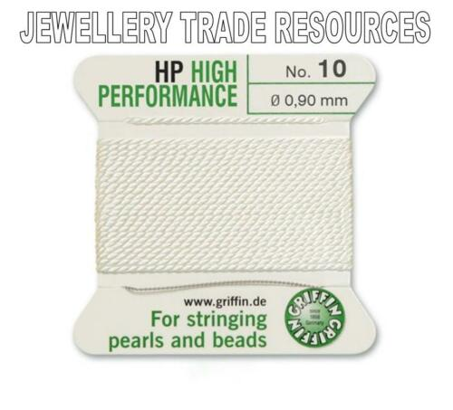 HP HIGH PERFORMANCE WHITE BEAD CORD 0.90mm STRINGING PEARLS BEADS GRIFFIN 10