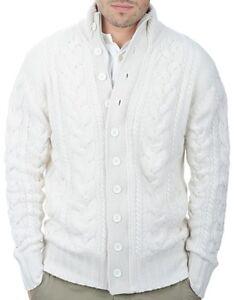100 Uomo Balldiri 8 Fädig Pattern Cardigan Xl White Knit Cashmere Tw66qpBd