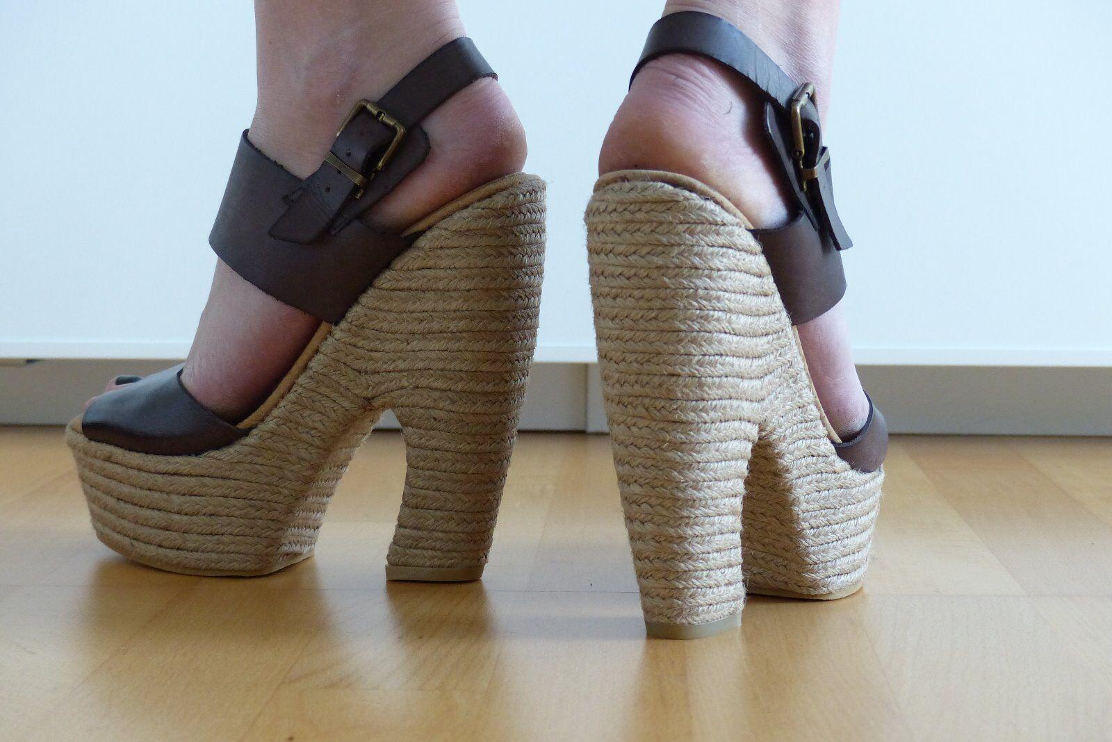 Topshop Sandaletten Sandales Sandales Sandaletten Bast Leder braun Gr. 39 UK UK 39 6 ... ef0a1c