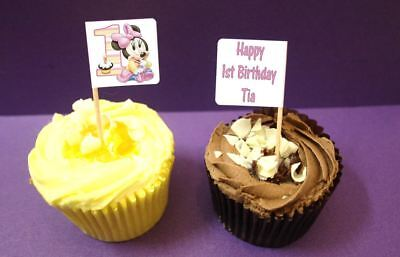 Admirable 24 Personalised Minnie Mouse 1St Birthday Party Flags Cupcake Funny Birthday Cards Online Necthendildamsfinfo