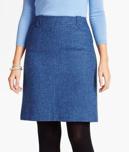 TALBOTS Indigo Venetian bluee Herringbone Shetland A-Line Skirt 24W NWT MSRP