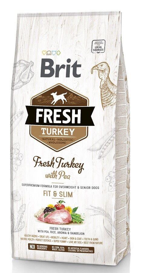 12kg Brit Fresh Turkey & Pea, Fit & Slim, für übergewichtige und ältere Hunde