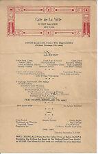 CAFE de La VILLE,65 EAST 54TH STREET, NEW YORK,TUESDAY SEPT. 5,1944,O.P.A. REGS.