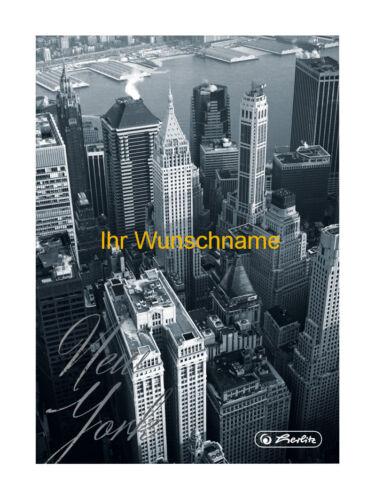 """Notizbuch liniert A5 /""""New York/"""" Kladde mit gold gefärbter Gravur"""