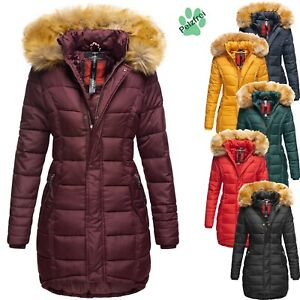 finest selection 1cc32 f5804 Details zu Navahoo Damen Winter Jacke Mantel Steppmantel Parka Lang  Kunstfell Kapuze PAPAYA