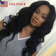Women Glueless Lace Front Long Loose Curly Heat Resistant Full Hair Wigs Black