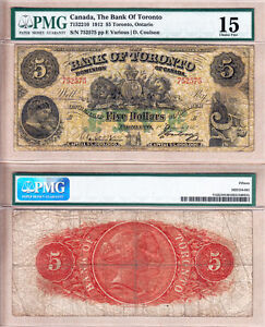 1912-Bank-of-Toronto-TD-Bank-5-Large-Size-Yellow-Note-PMG-Choice-Fine-15