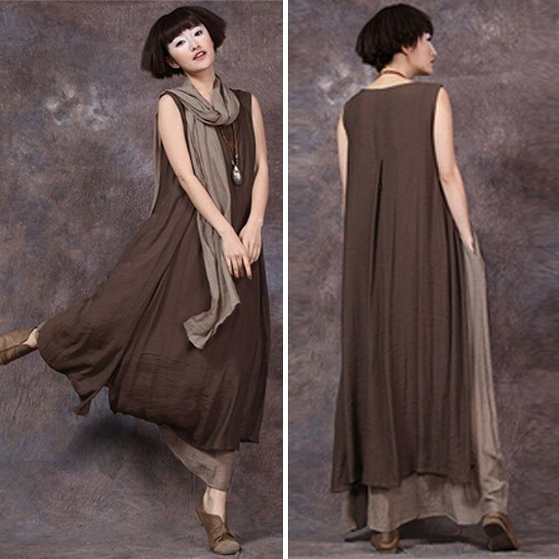 Vintage Women Sleeveless Tank Dress Casual Solid Double Layers Long Maxi Dress