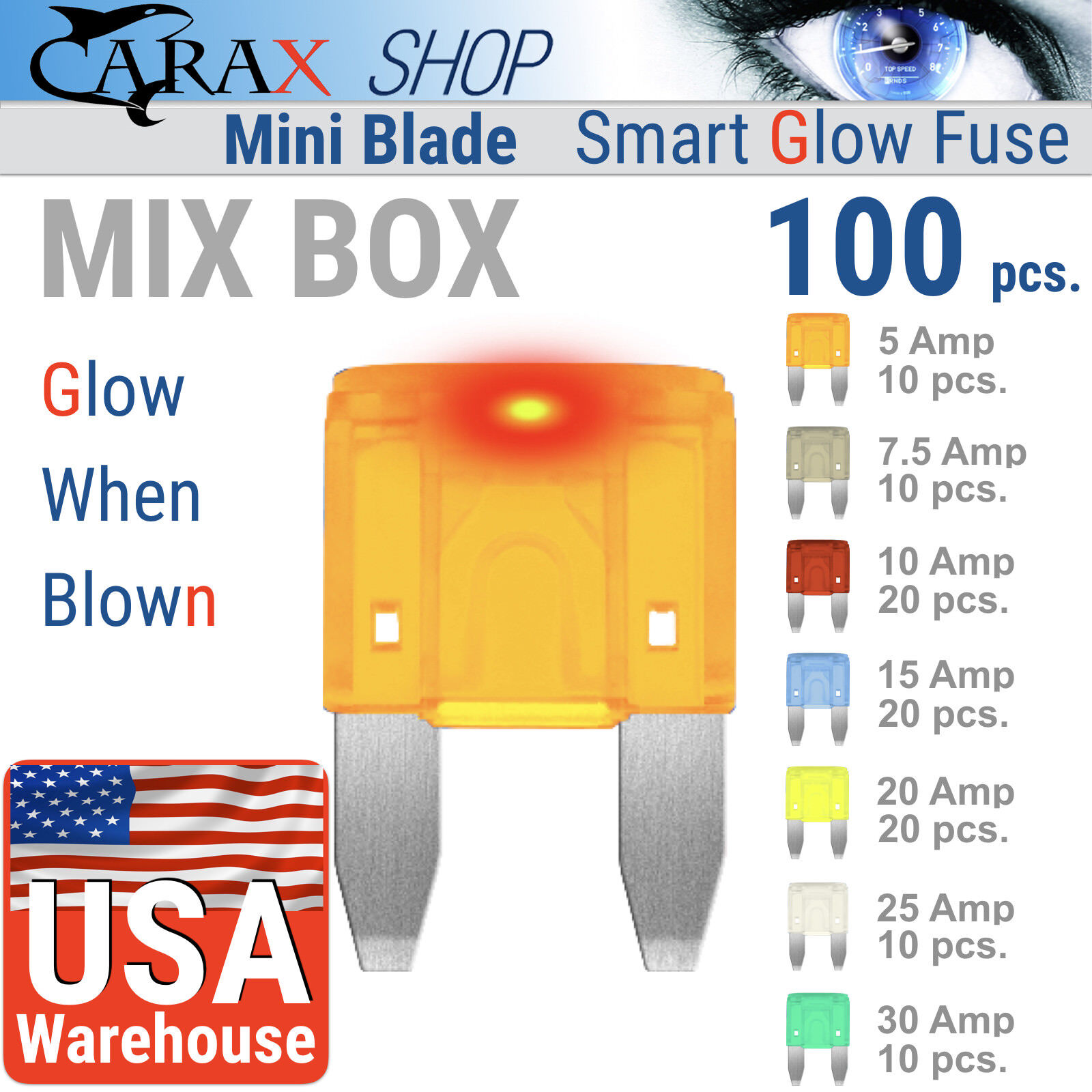 Fuses 100 Pcs Car Fuse Auto Smart Glow Automotive Box Small Mini Home Norton Secured Powered By Verisign