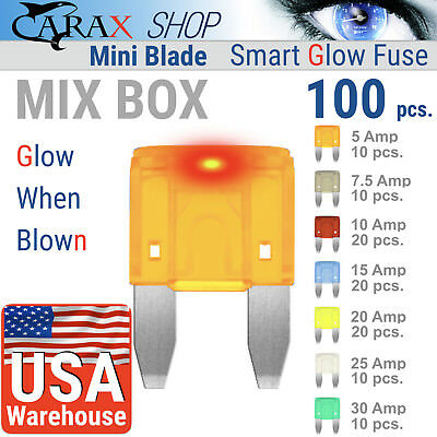 Smart GLOW Fuse Fuses Assortment Replacement Kit Carax Fuse 100 pcs Easy Identification Fuse STANDARD Blade Car Fuse Kit Automotive ATC//ATO Illuminating Indicator Fuse That Glow When Blown