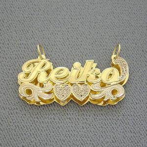 18322c0b1f2e Personalized 14k Gold Name Pendant Jewelry 3D Double Plates 2 Tone ...