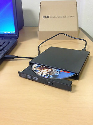 External Black USB Slim 8x DVDRW DL DVD CD RW Burner Writer Drive All PC and Mac