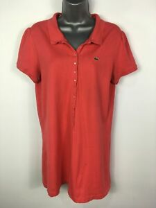 WOMENS-LACOSTE-DEVANLAY-CORAL-RED-SHORT-SLEEVE-LONG-LINE-POLO-SHIRT-TOP-SIZE-46