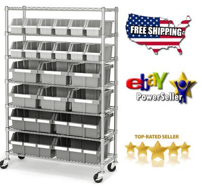 Delicieux Commercial Garage Rolling 22 Bin Storage Rack Steel Frame Shelving Unit 4  Wheels 793923652745 | EBay