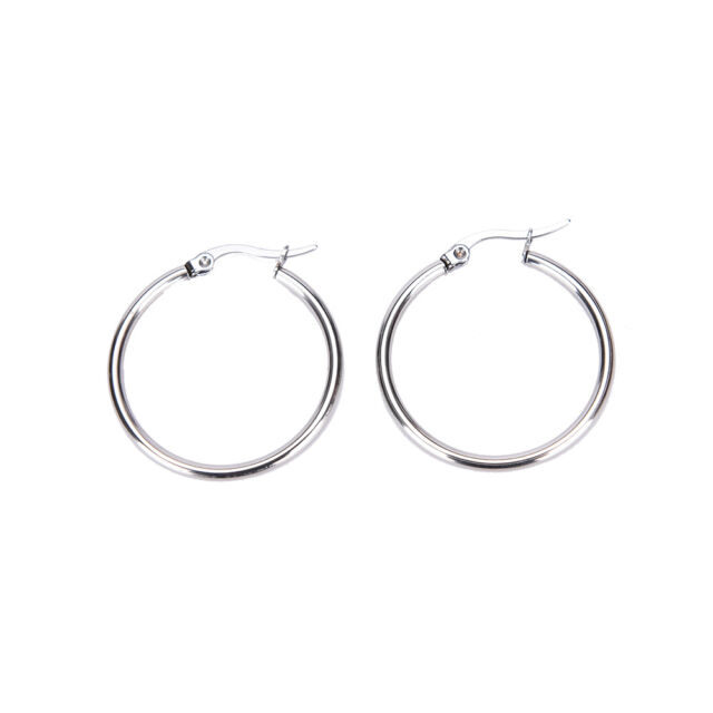 Women Ladies Stainless Steel Tube Dangle Ring Hoop Ear Circle Round Earrings OS