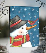 """Reflection Snowman Winter Garden Flag Cardinal Seasonal Yard Banner 12.5/"""" x 18/"""""""