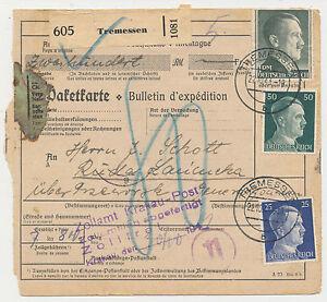 Paketkarte-Tremessen-1943-Versand-nach-GG-406
