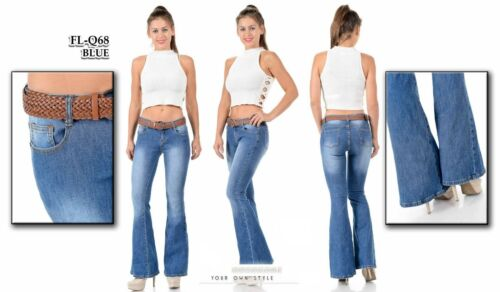 Wax Jeans Womens Vintage High Waist Flared Bell Bottom Light Denim 70s Pants NEW