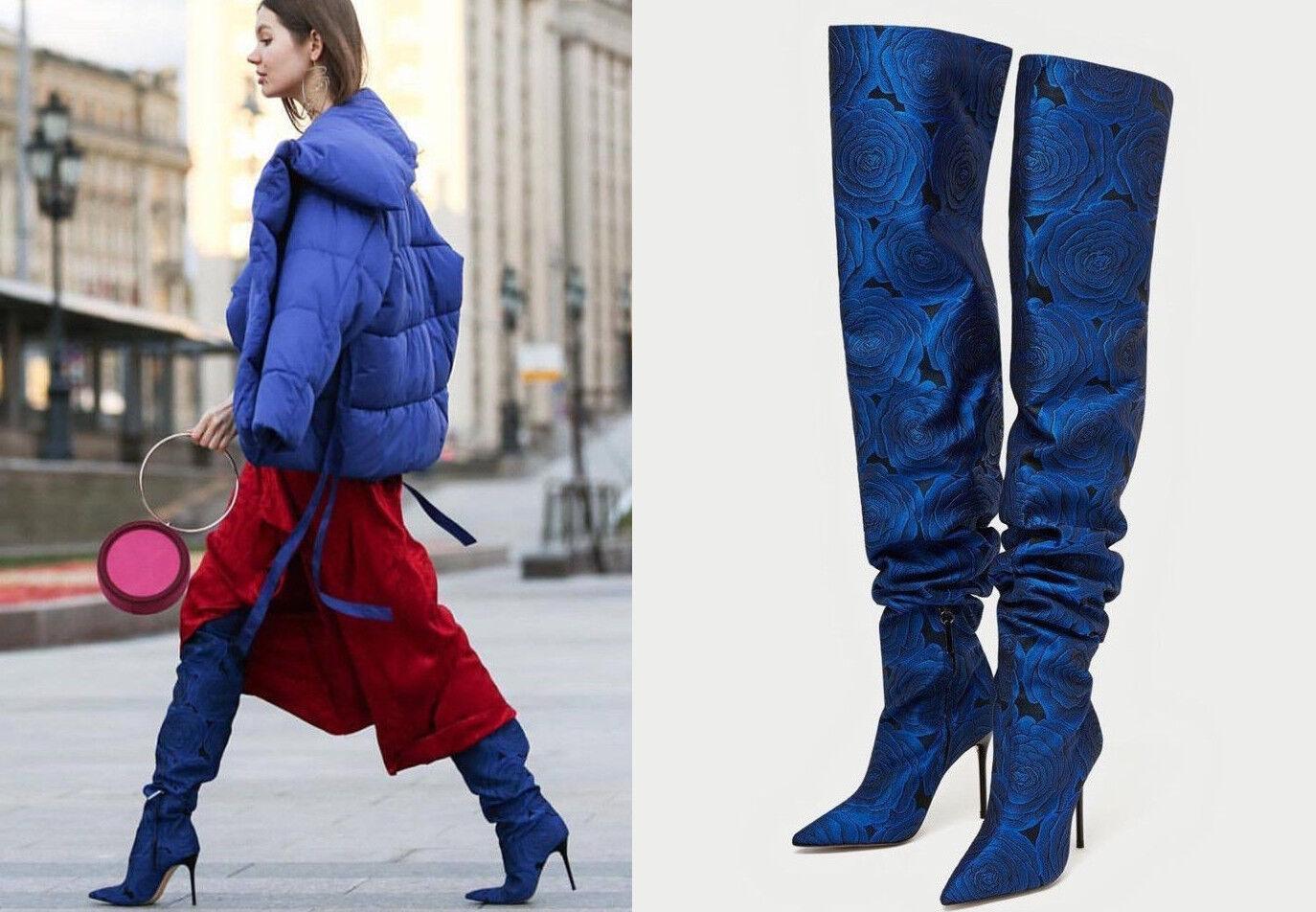 Zara Woman overkneestiefel flores azul floral botas tacón alto 36 38 41