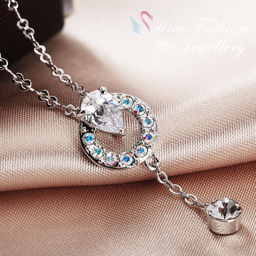 18K White Gold Plated Simulated Diamond Teardrop Circle Lariat Necklace