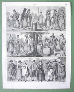 GERMAN-Austria-People-Costume-Tyrol-Bohemia-Illyria-1844-Print-Engraving