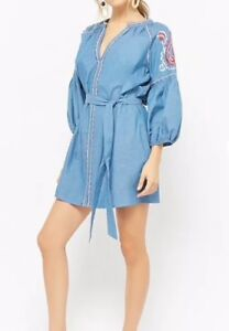 4268cc77c5 Image is loading Forever-21-Embroidered-Chambray-Peasant-Dress-Denim-Blue-
