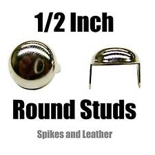"100 Heavy Duty 1/2"" Silver/Chrome 12 mm Round Studs Spot Nailhead Spikes USA DIY"