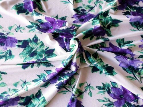 Stretch Viscose Lycra jersey fabric White with Purple Floral Design-152cm wide
