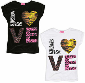Girls-T-Shirt-Kids-Love-Print-Top-Short-Sleeve-White-Cotton-Teen-Age-7-13-Years
