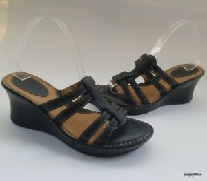 928928a536bc Image is loading NICE-Born-B-O-C-Black-Leather-Wedge-Sandals-Shoes-