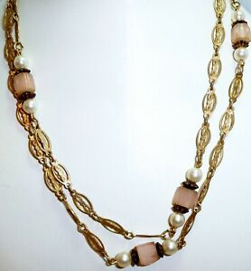 Beautiful-Tagged-1928-Vintage-Rose-Quartz-Ornate-Gold-Tone-32-034-Chain-Necklace