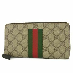 Auth-GUCCI-Web-GG-Logos-PVC-Leather-Round-Zipper-Long-Wallet-Purse-F-S-13429bkac