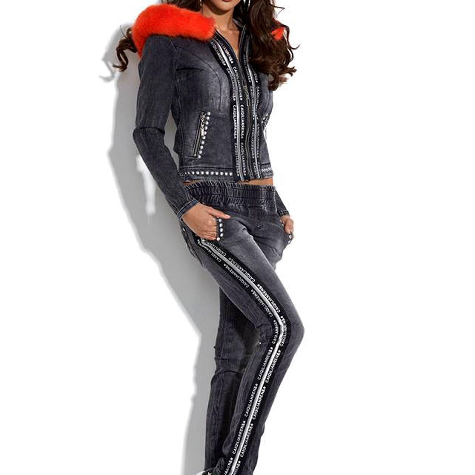 214ac01a88d6 By ALINA ALINA ALINA Jeans 2-divisorio con cappuccio Giacca + hüftjeans  Pantaloni tempo libero tuta PELO XS-M 398430