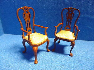 Sedie Stile Chippendale : 1 12 scale dolls house quality set of 2 chippendale style chairs