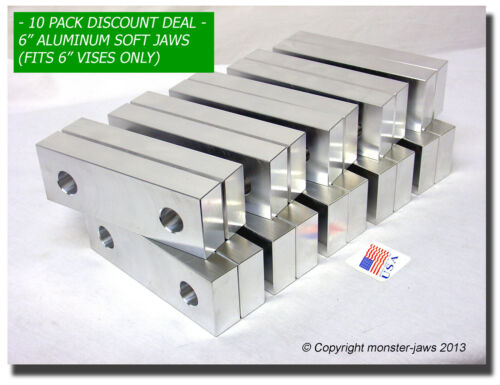 "6 x 2 x 1/"" Standard Aluminum Soft Jaws Set Fits Kurt 6/"" Vises Discount 10 PACK"